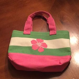 Pottery Barn kids pink & green canvas tote 🌺